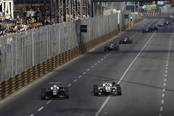 Charles Leclerc, Van Amersfoort Racing Dallara Volkswagen and Felix Rosenqvist, Prema Powerteam Dallara Mercedes-Benz
