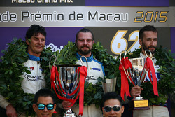 Podium: winner and TCR 2016 Champion Stefano Comini, SEAT Leon, Target Competition, second place Andrea Belicchi, SEAT Leon, Target Competition, third place Mikhail Grachev, Volkswagen Golf TCR, Team Engstler
