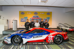 Chip Ganassi Racing Ford GTLM drivers for IMSA and Le Mans: Dirk Müller, Joey Hand, Richard Westbrook and Ryan Briscoe with Raj Nair from Ford