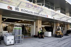 Lotus F1 Team pit garages