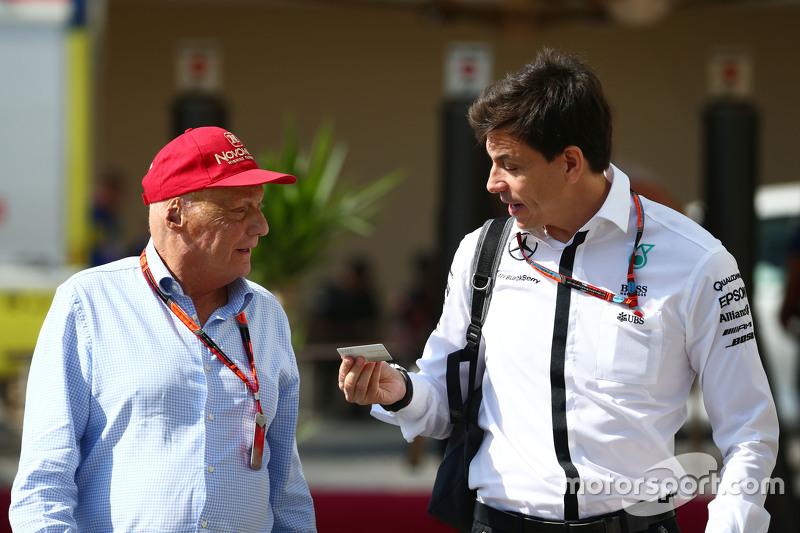 Niki Lauda, Mercedes, mit Toto Wolff, Mercedes-Sportchef