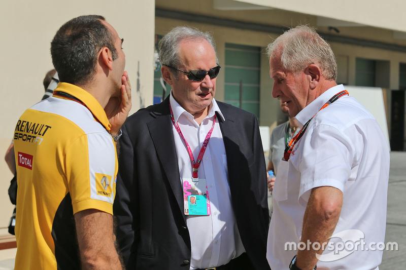 Cyril Abiteboul, Renault Sport F1, mit Jerome Stoll, Renault Sport F1, Präsident, und Dr. Helmut Marko, Red Bull Motorsport