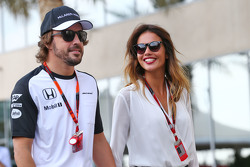 Fernando Alonso, McLaren with his girlfriend Lara Alvarez