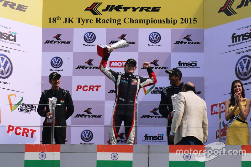 Podium: winner Costantino Peroni, second place Krishnaraaj Mahadik, third place Nayan Chatterjee