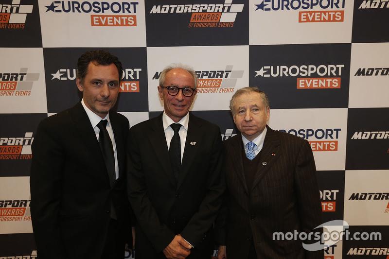 Francois Ribeiro, Geschäftsführer von Eurosport Events, mit FIM-Präsident Vito Ippolito und FIA-Präs