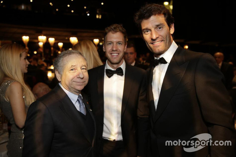 Jean Todt with former Red Bull teammates Sebastian Vettel and Mark Webber.