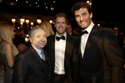 Jean Todt, FIA Präsident, Sebastian Vettel, Scuderia Ferrari und Mark Webber, Porsche Team