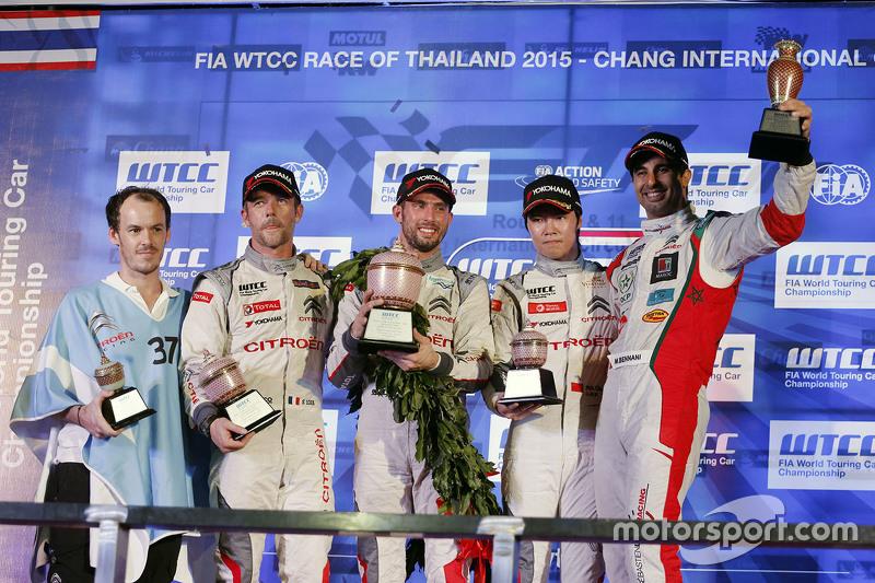 Race 1 podium: winner Jose Maria Lopez, Citroën World Touring Car team, Second place Sébastien Loeb, Citroën World Touring Car team, third place Ma Qing Hua, Citroën World Touring Car team and Mehdi Bennani, Sébastien Loeb Racing