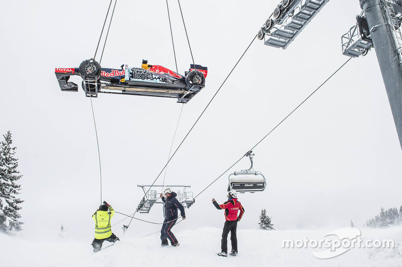 10. Red Bull RB7 arrives by helicopter