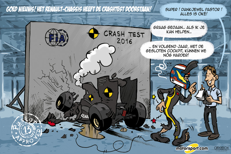 Cartoon van Cirebox - Pastor Maldonado doet Renault-crashtest