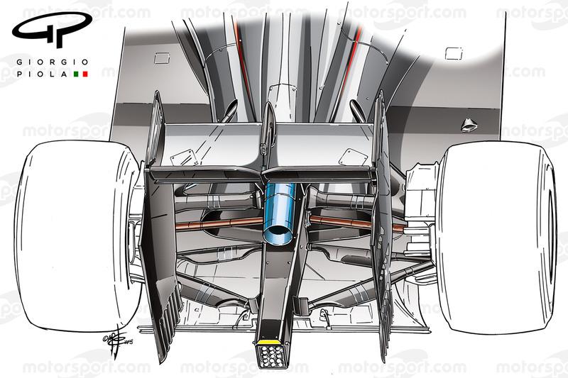 McLaren MP4-30 2015: dettaglio sospensione posteriore con la disposizione dei bracci