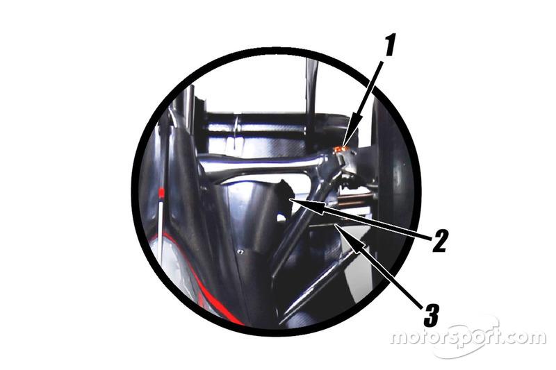 Haas VF-16 rear suspension
