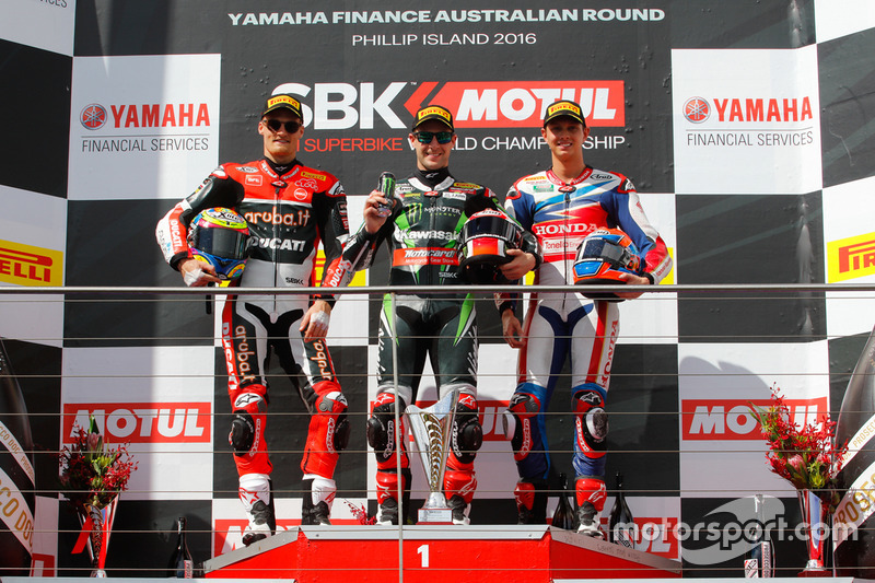 Podium race1: second place Chaz Davies, Aruba.it Racing - Ducati Team, first place Jonathan Rea, Kawasaki Racing Team, third place MIchael Van der Mark, Honda WSBK Team