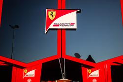 Ferrari logo on a truck in the paddock
