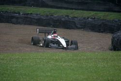 James Davison slides into the gravel pit