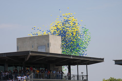 Balloons are launched just prior to the start of the Allstate 400 At The Brickyard