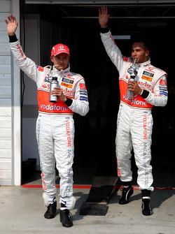 2nd, Heikki Kovalainen, McLaren Mercedes and 1st Lewis Hamilton, McLaren Mercedes