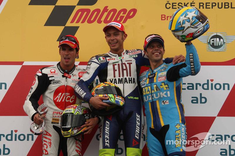 2008: 1. Valentino Rossi, 2. Toni Elias, 3. Loris Capirossi