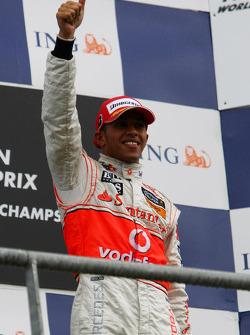 Race winner Lewis Hamilton