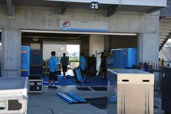 Rizla Suzuki MotoGP team prepares the garage that will house the bike of three-time AMA Superbike champion Ben Spies