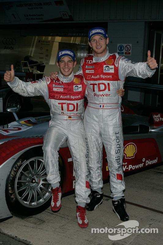 Le Mans Series 2008 Champions Alexandre Prémat and Mike Rockenfeller celebrate