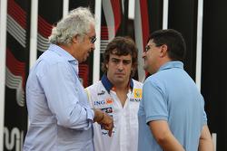Flavio Briatore, Renault F1 Team, Team Chief, Managing Director, Fernando Alonso, Renault F1 Team and Luis Garcia Abad, Manager of Fernando Alonso
