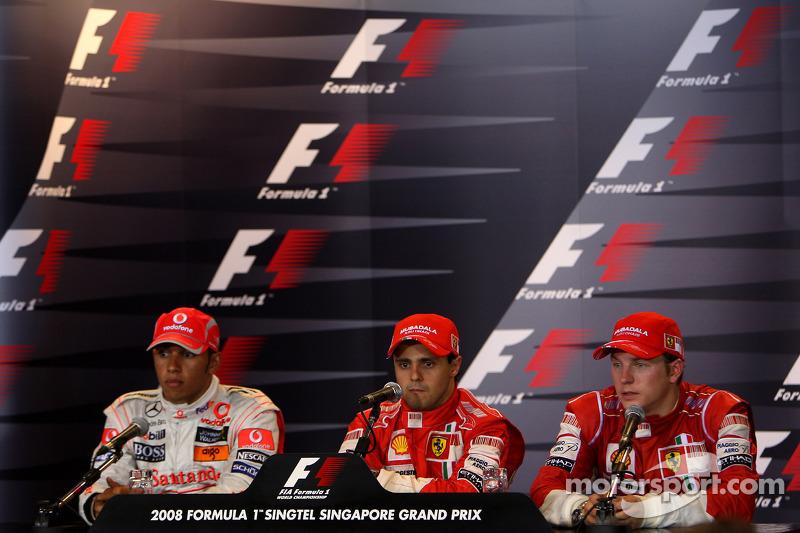 Pressekonferenz:  Polesitter Felipe Massa; 2. Lewis Hamilton; 3. Kimi Räikkönen