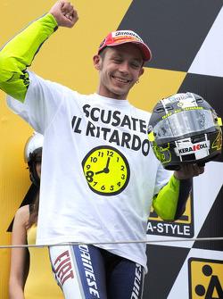 Podium: race winner and 2008 World Champion Valentino Rossi celebrates