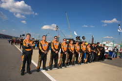 Crew members aligned during National Anthem