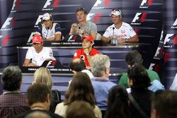 FIA press conference: Lewis Hamilton, Felipe Massa, Nelson A. Piquet, David Coulthard and Rubens Barrichello