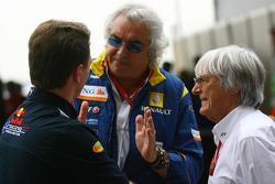 Christian Horner, Red Bull Racing,Director, Flavio Briatore, Renault F1 Team, jefe del equipo, Gerente Director Bernie Ecclestone