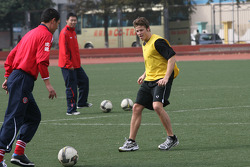 Marco Andretti, driver of A1 Team USA at the Chengdu Blades training ground for a friendly football match