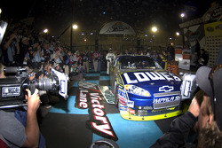 Victory lane: race winner Jimmie Johnson enters victory lane