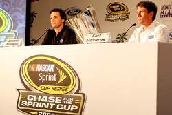 Jimmie Johnson and Carl Edwards speak with the media during the 2008 Championship Contenders Press Conference