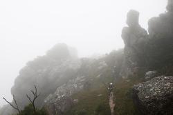 Launceston, Australia: Team Red Bull cross the peak of Mount Claude