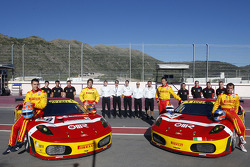 BMS Scuderia Italia photoshoot: Matteo Malucelli, Paolo Ruberti, Joel Camathias and Jose Manuel Balbiani pose with their team