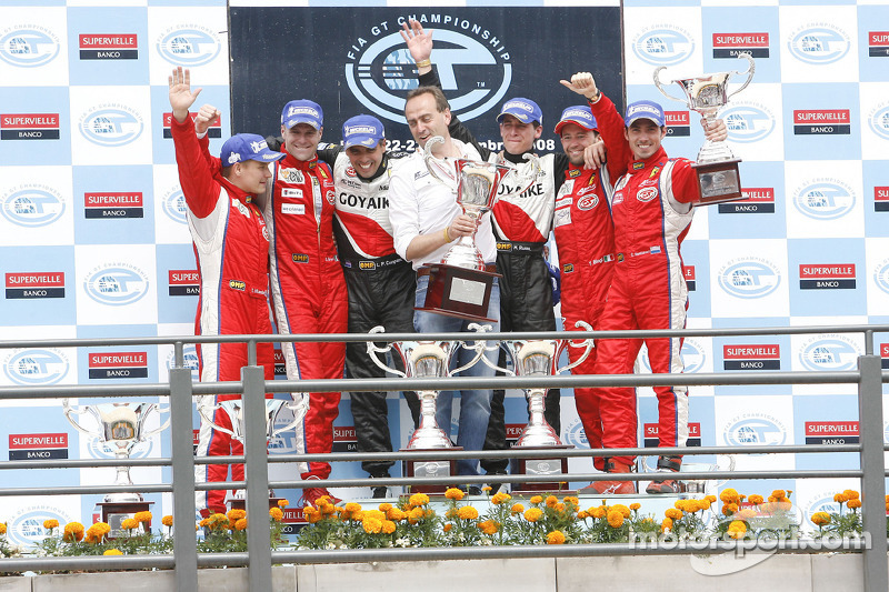 GT2 podium: class winners Matias Russo and Luis Perez Companc, second place Toni Vilander and Gianmaria Bruni, third place Thomas Biagi and Christian Montanari