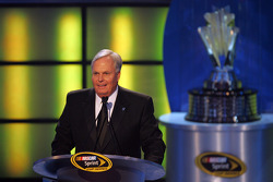 Rick Hendrick, 2008 NASCAR Sprint Cup Champion team owner, speaks to the crowd during the NASCAR Sprint Cup Series Awards Ceremony at the Waldorf=Astoria