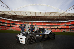 David Coulthard, Jenson Button, Mark Webber and Andy Priaulx with the KTM X-Bow at the Race of Champions media preview
