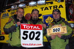 Driver Ales Loprais, co-driver Vojtech Stajf and co-driver Milan Holan