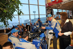Team Kamaz Master departure press conference at the Moscow airport: Team Kamaz Master team members and drivers wait for their flight