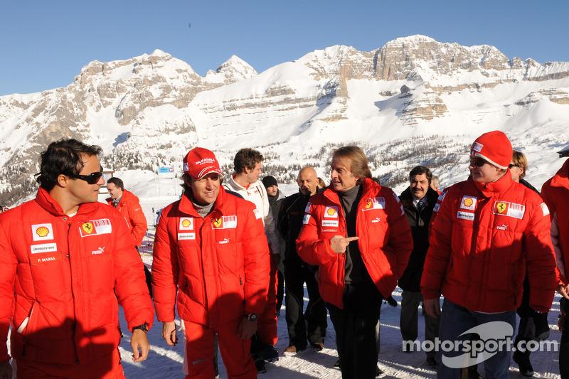Felipe Massa, Luca Badoer, Luca Di Montezemolo and Kimi Raikkonen