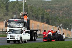 Lewis Hamilton, McLaren Mercedes, stops on circuit