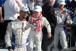 DP victory lane: JC France celebrates with his son Jayce