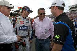 Rick Hendrick, Jimmie Johnson, Hendrick Motorsports Chevrolet, Felix Sabates and crew chief Chad Knaus