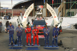 Podium: winners Sebastien Loeb and Daniel Elena, second place Mikko Hirvonen and Jarmo Lehtinen, third place Jari-Matti Latvala and Miikka Anttila