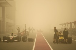 A sand storm in the pit lane