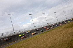 The pace car leads the field on its pace laps