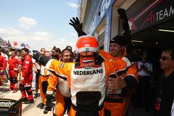 Race winner Jeroen Bleekemolen celebrates