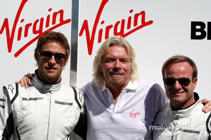 Jenson Button, Brawn GP, Rubens Barrichello, Brawn GP and Sir Richard Branson CEO of the Virgin Group makes and announcement regarding the Virgin sponsorship deal with Brawn GP